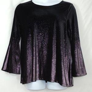 Alfani Womens Blouse Purple Plus Velvet Shimmer